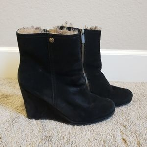 Calvin Klein Fur Lined Wedge Booties